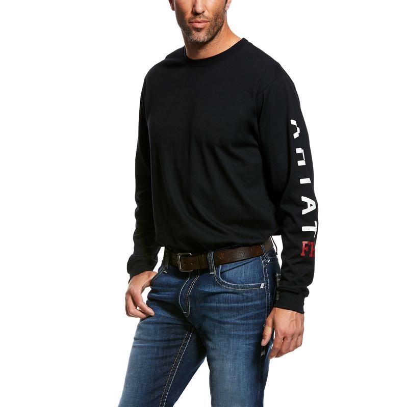Ariat Mens WORK FR Roughneck Skull Logo T-shirt Black 10026434